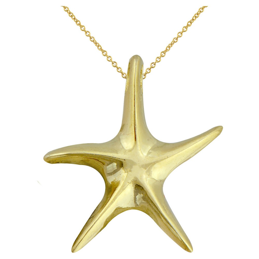 Womens Gold Over Silver Plated Starfish Pendant-Yellow-18