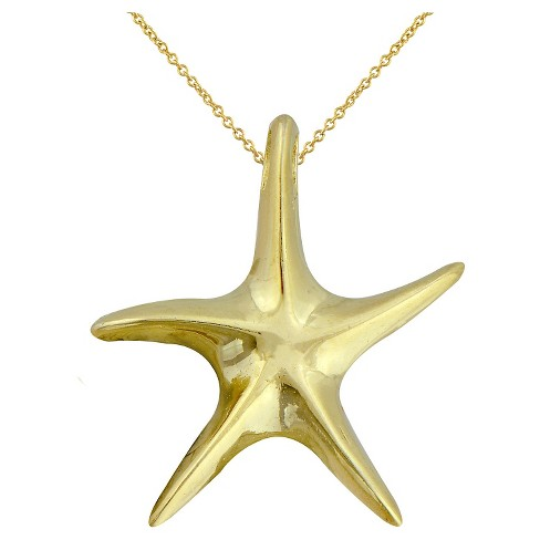 "Women's Gold Over Silver Plated Starfish Pendant-Yellow-18"" - image 1 of 1"