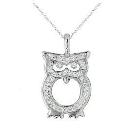 """Women's Silver Plated Crystal Owl Pendant-White-18"""""""