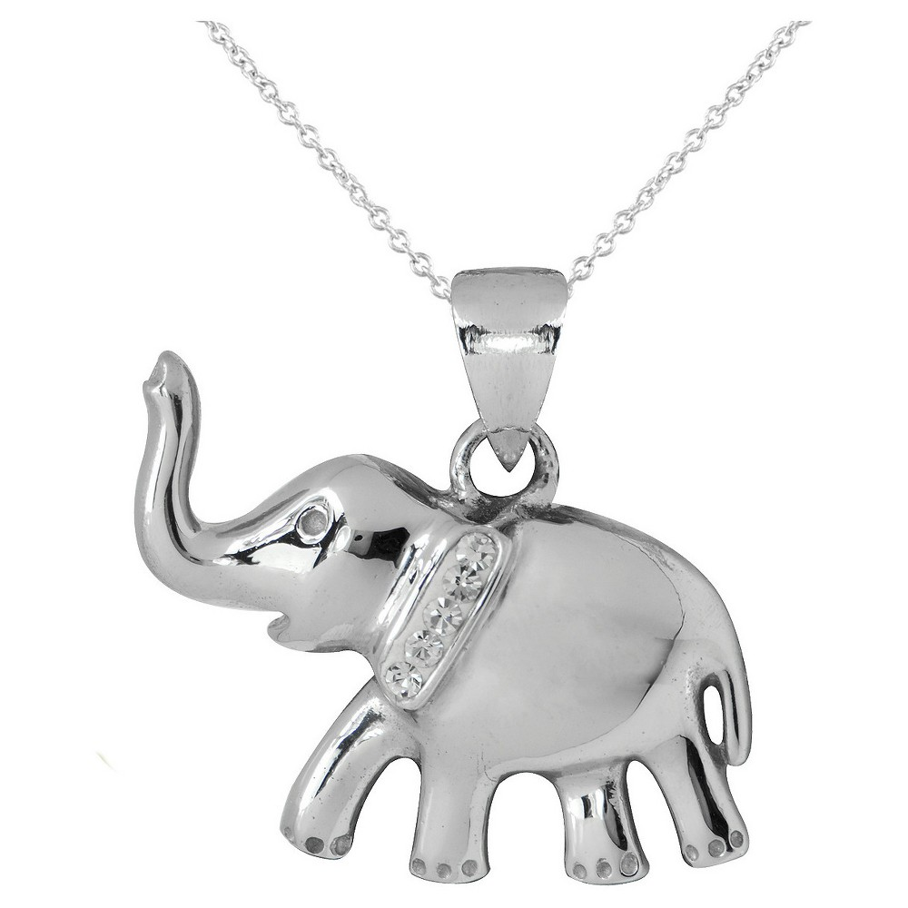 Womens Silver Plated Elephant Pendant-White-18