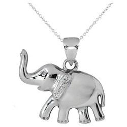 Women's Silver Plated Elephant Pendant-White-18""