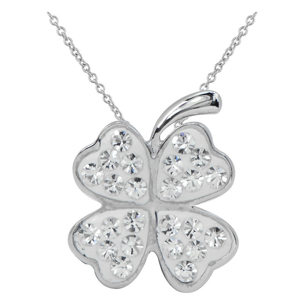 Womens Silver Plated Crystal 4Leaf Clover Pendant-White-18