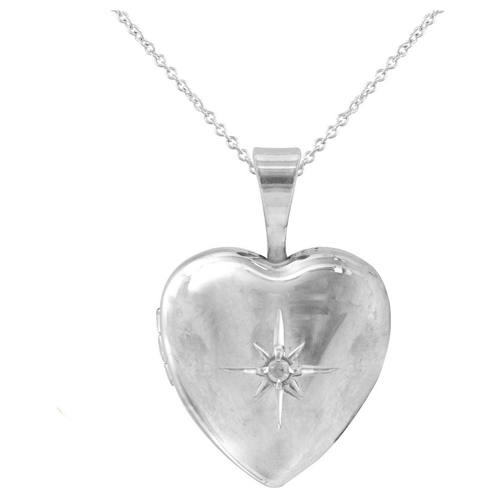 Womens Silver Plated Locket Pendant-White-18
