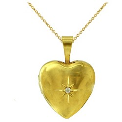 """Women's Gold Over Silver Plated Locket Pendant-Yellow-18"""""""