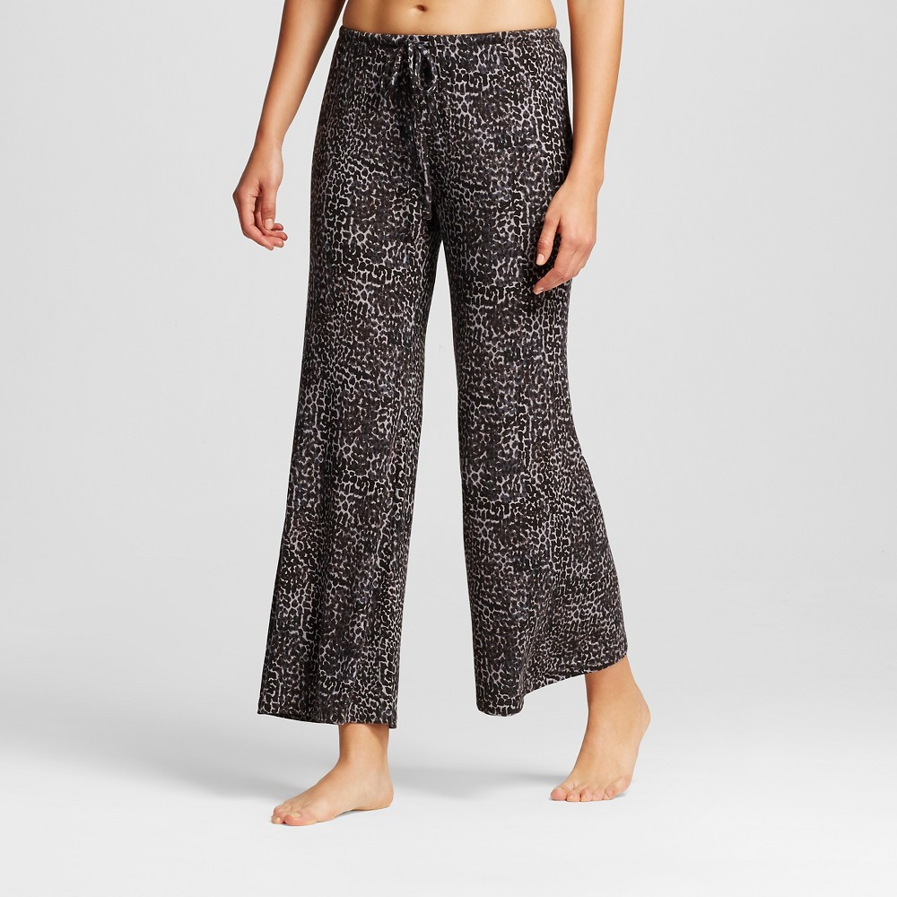 Womens Wide Leg Pant Shorts Leopard Print - Black L
