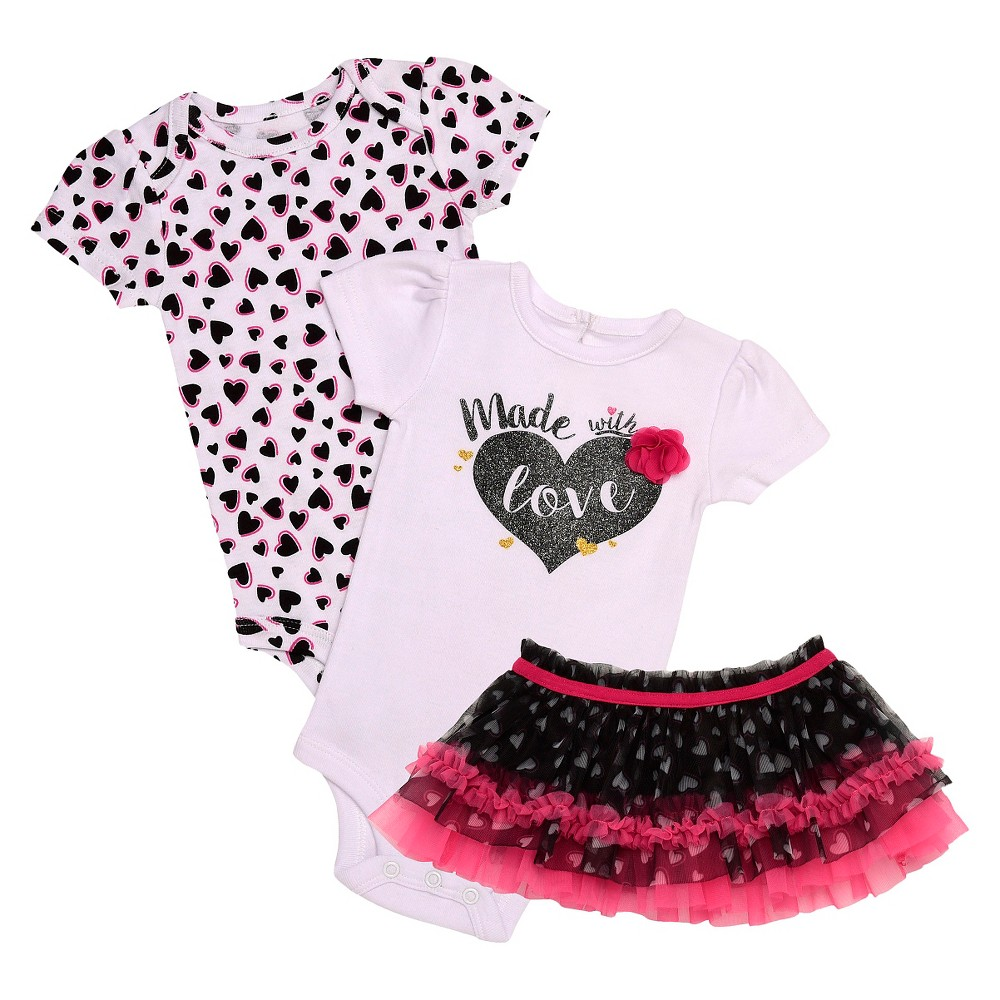 Baby Starters Baby Girls' 3 Piece Love Bodysuit & Tutu Skirt – White 6M, Infant Girl's, Size: 6 M, Black Pink White