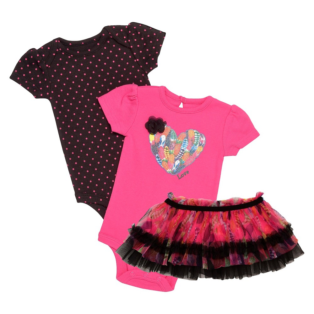 Baby Starters Baby Girls' 3 Piece Feather Bodysuit & Tutu Skirt – Pink 9M, Infant Girl's, Size: 9 M, Black Pink