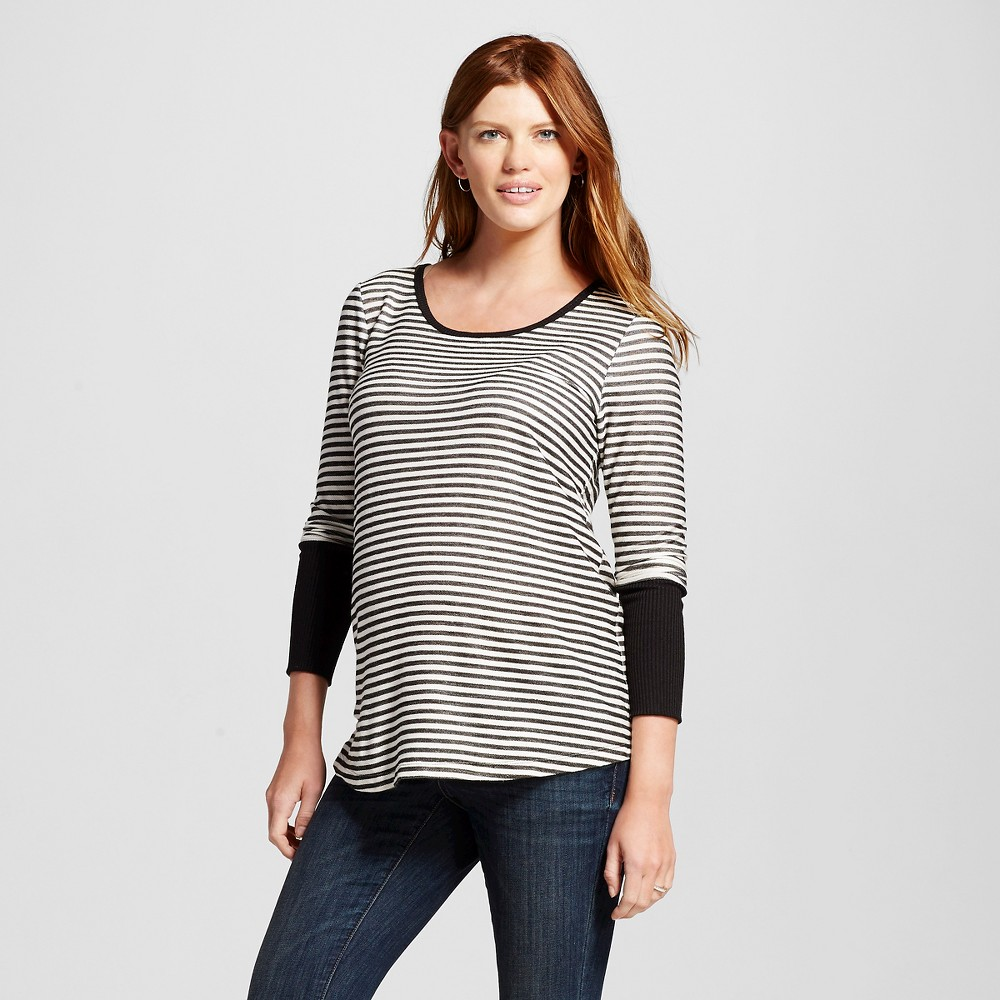 Maternity Long Sleeve Striped Top w/ Solid Cuff Gray/White L – MaCherie, Women's