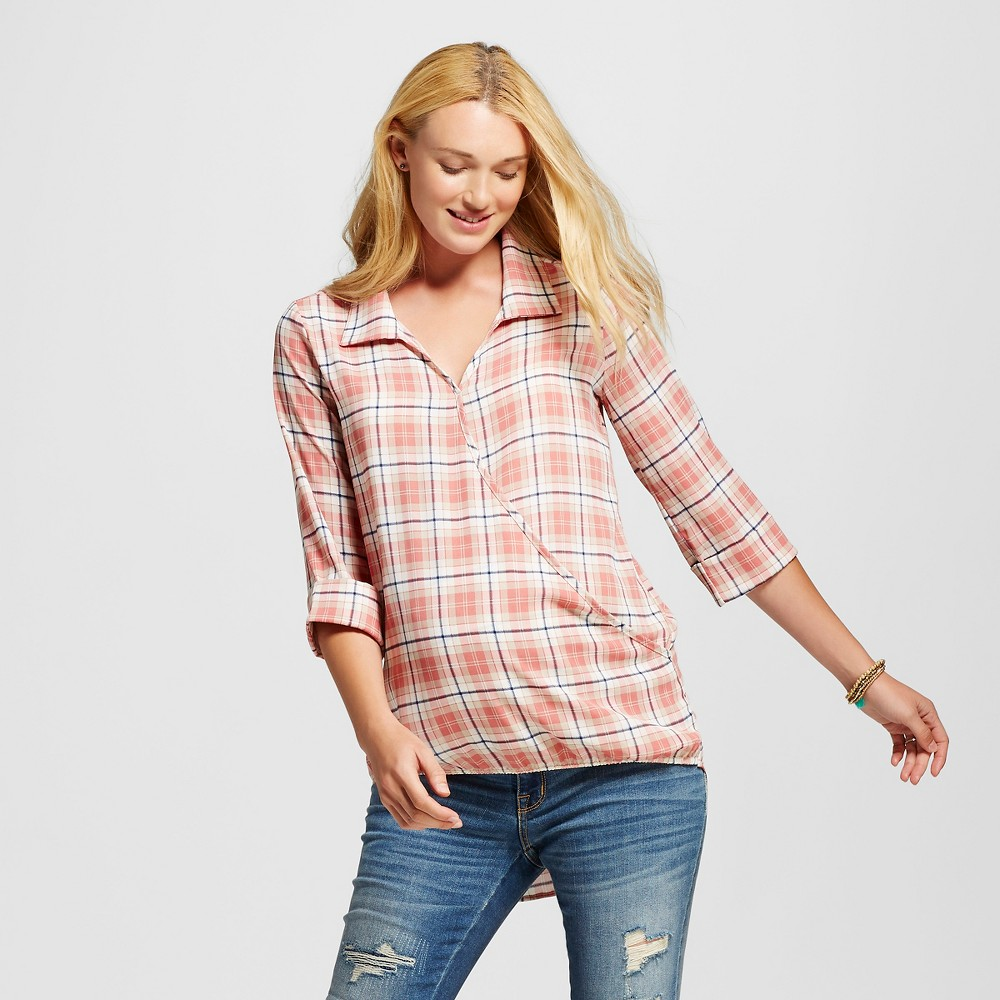 Maternity Roll Sleeve Plaid Crossover Top Peach L – MaCherie, Women's, Pink