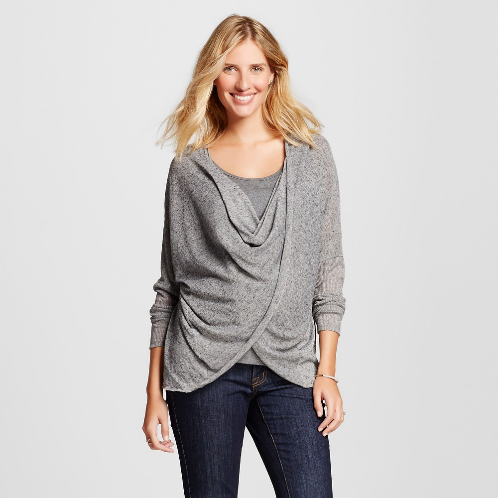Maternity Long Sleeve Criss Cross Top Heather Gray L – MaCherie, Women's