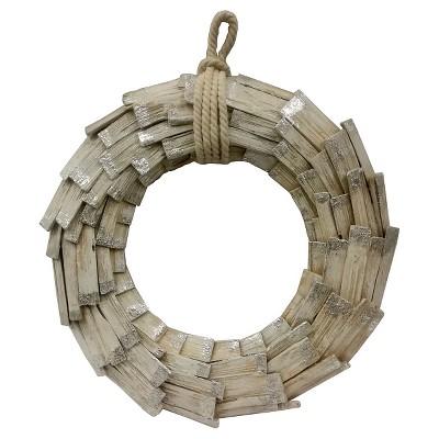 White Washed Wood Wreath - Threshold™