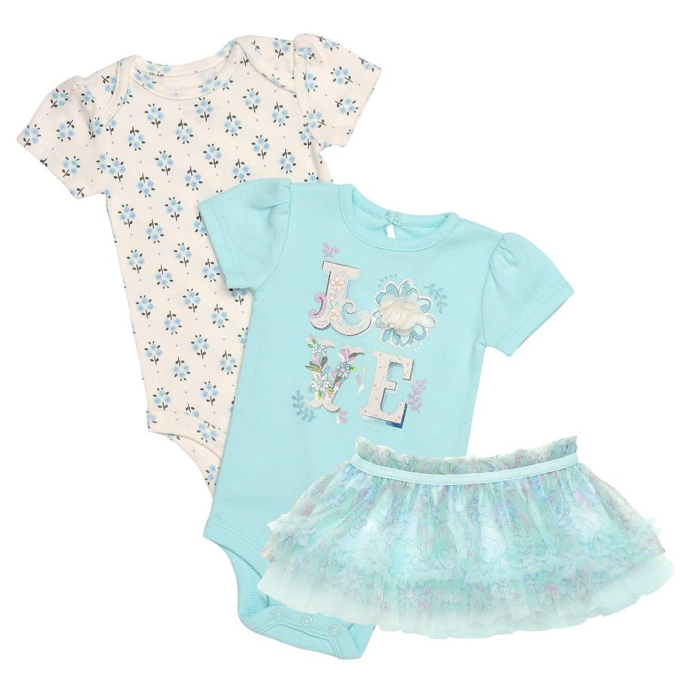 Baby Starters Baby Girls' 3 Piece Bodysuit & Tutu Skirt – Blue 9M, Infant Girl's, Size: 9 M