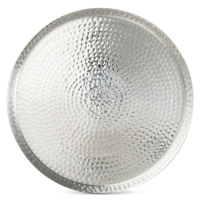 Hammered 17.5in Round Serving Tray Aluminum - Threshold™