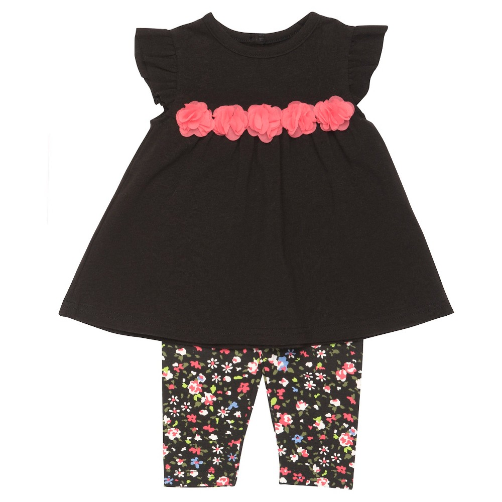 Baby Starters Baby Girls' 2 Piece Floral Legging Set – Black 6M, Infant Girl's, Size: 6 M
