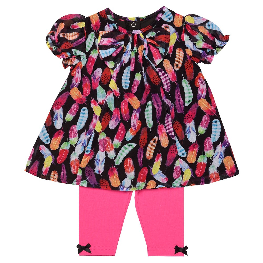 Baby Starters Baby Girls' 2 Piece Feather Legging Set – Pink 3M, Infant Girl's, Size: 3 M