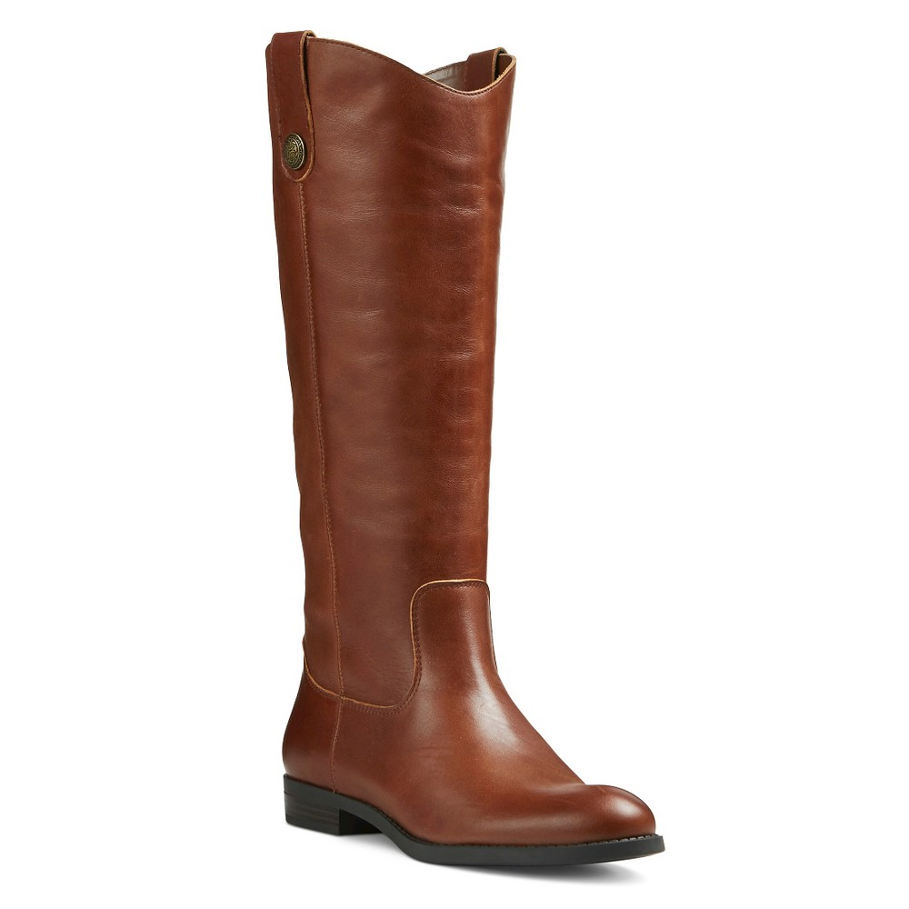 Womens Genuine 1976 Kasia Leather Tall Riding Boots - Cognac (Red) 6