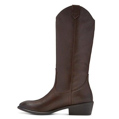 Women's Genuine 1976 Carson Pebbled Leather Pull On Boots - Brown 8