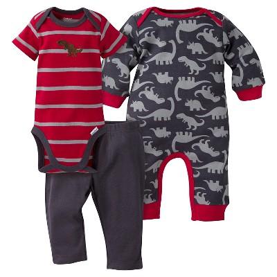 Gerber® Baby Boys' 3-Piece Coverall, Short-Sleeve Onesie® & Pant - Dinosaur 6-9M