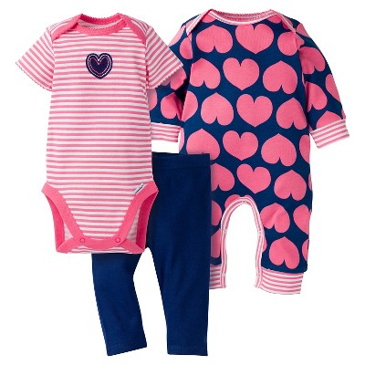 Gerber® Baby Girls' 3-Piece Coverall, Short-Sleeve Onesie® & Legging - Hearts 6-9M