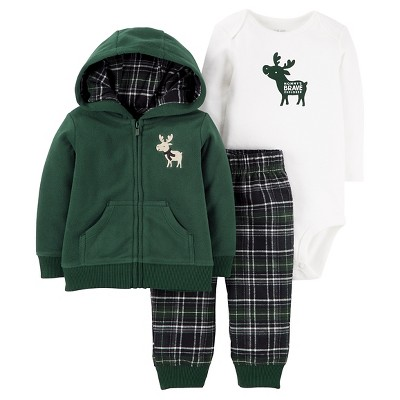 Just One You™ Made by Carter's® Baby Boys' 3pc Fleece Cardigan Set - Green Hooded Moose 9M