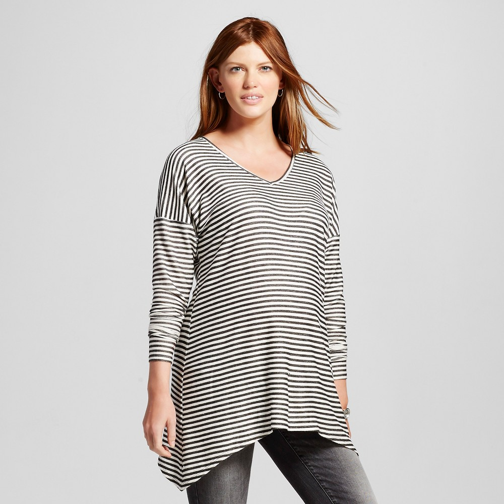 Maternity Long Sleeve V-Neck Sharkbite Stripe Top Black/Natural S – MaCherie, Women's