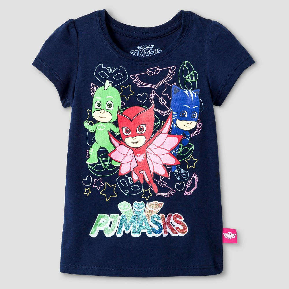 PJ Mask Toddler Girls T-Shirt 3T - Navy, Blue
