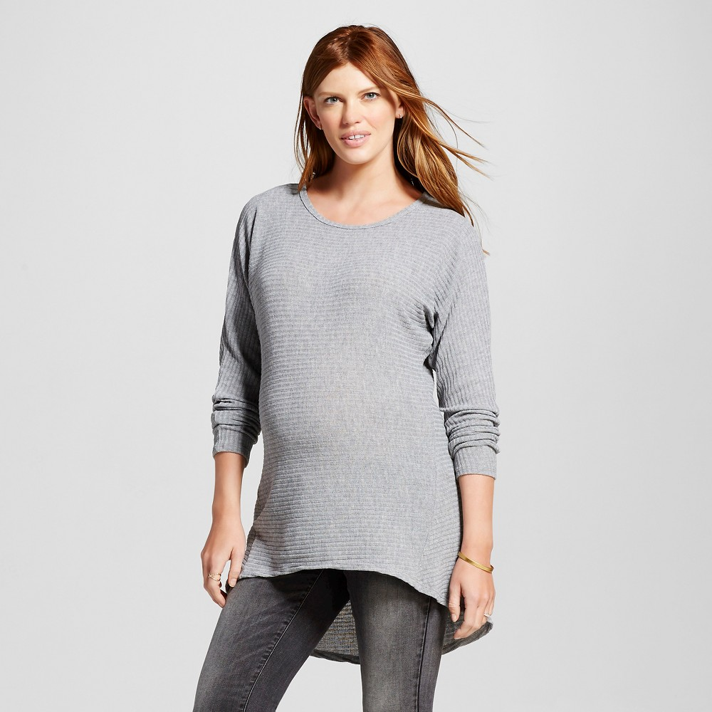 Maternity Long Sleeve Dolman Hi Low Top Gray L – MaCherie, Women's
