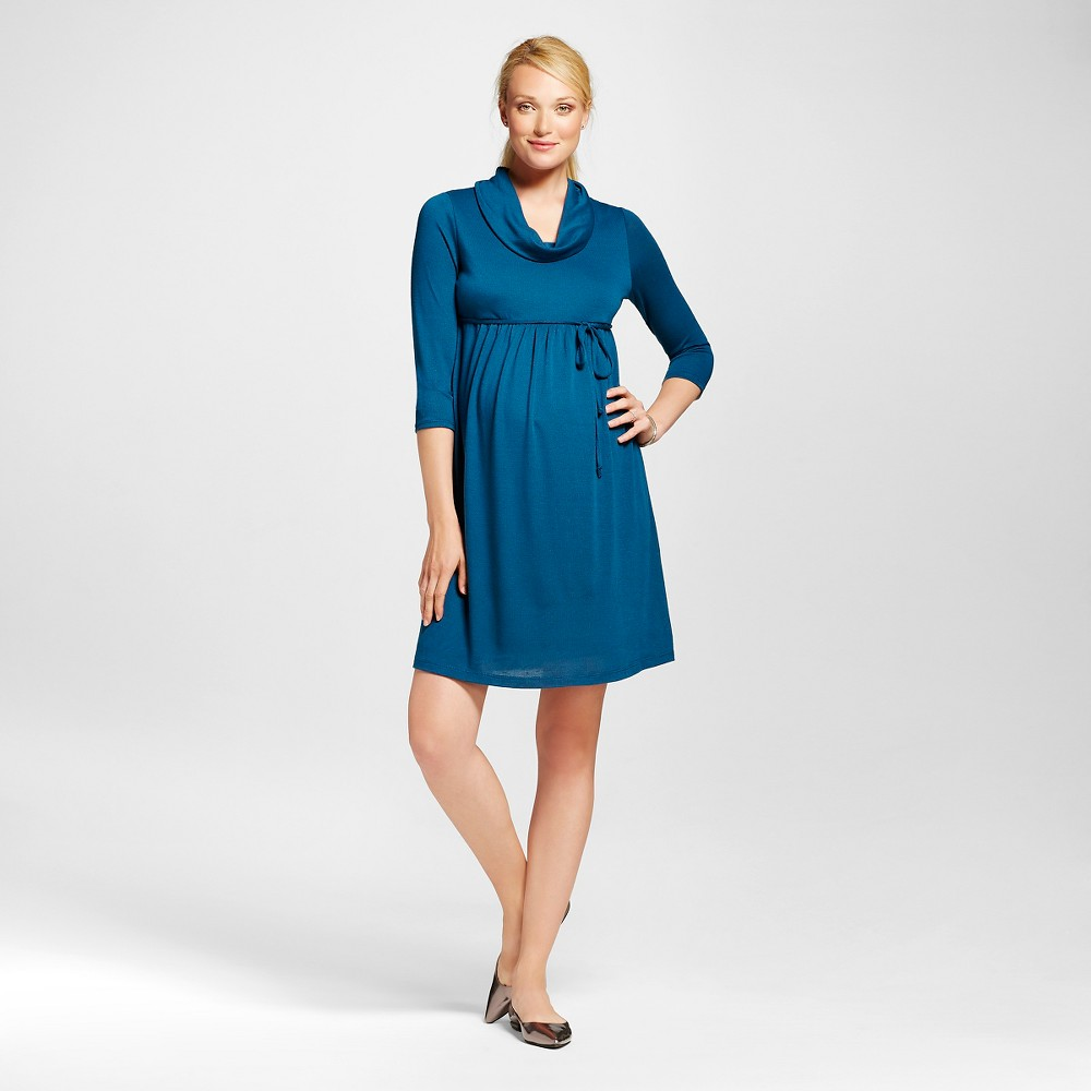 Maternity 3/4 Sleeve Cowl Neck Dress Teal (Blue) XL – MaCherie, Women's