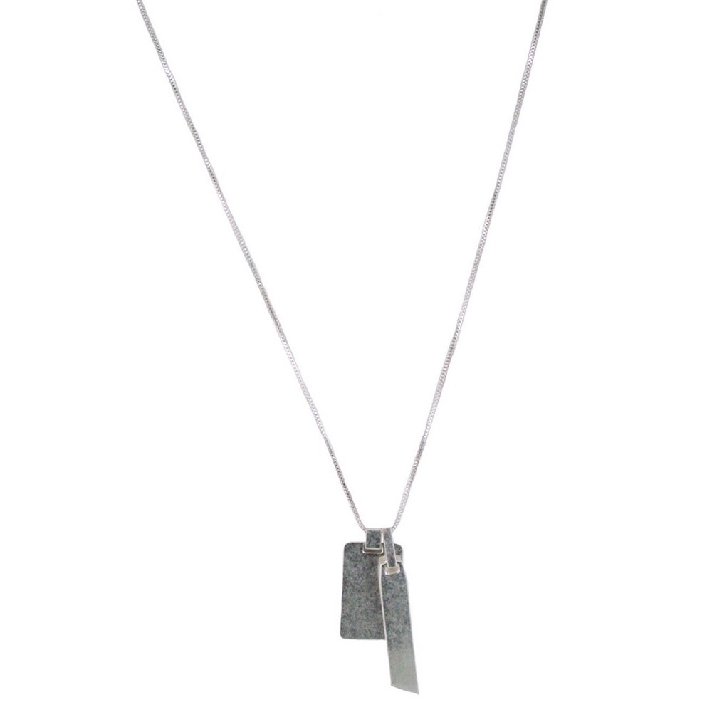 Women's Dog Tag Necklace – Silver, Medium Silver