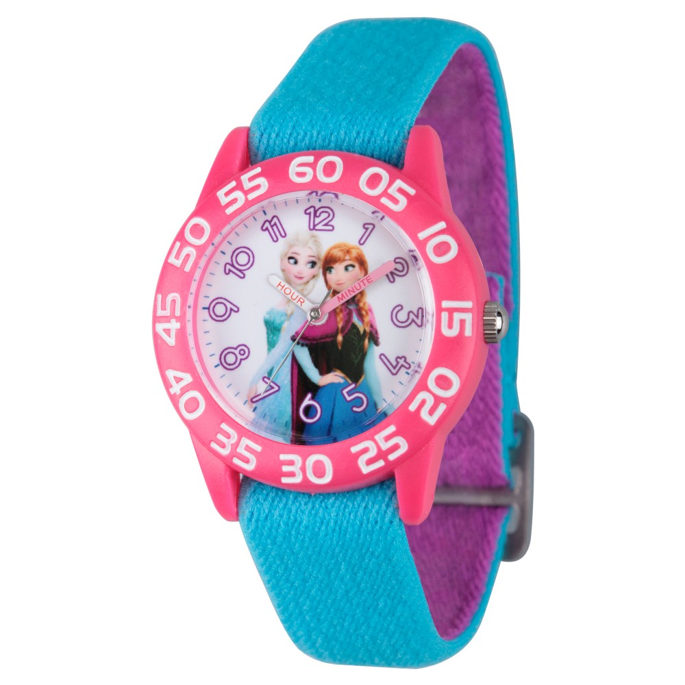 Girls Disney Frozen Elsa and Anna Pink Plastic Time Teacher Watch - Blue