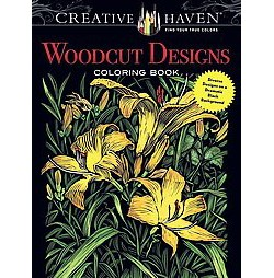 Woodcut Designs : Diverse Designs on a Dramatic Black Background (Paperback)