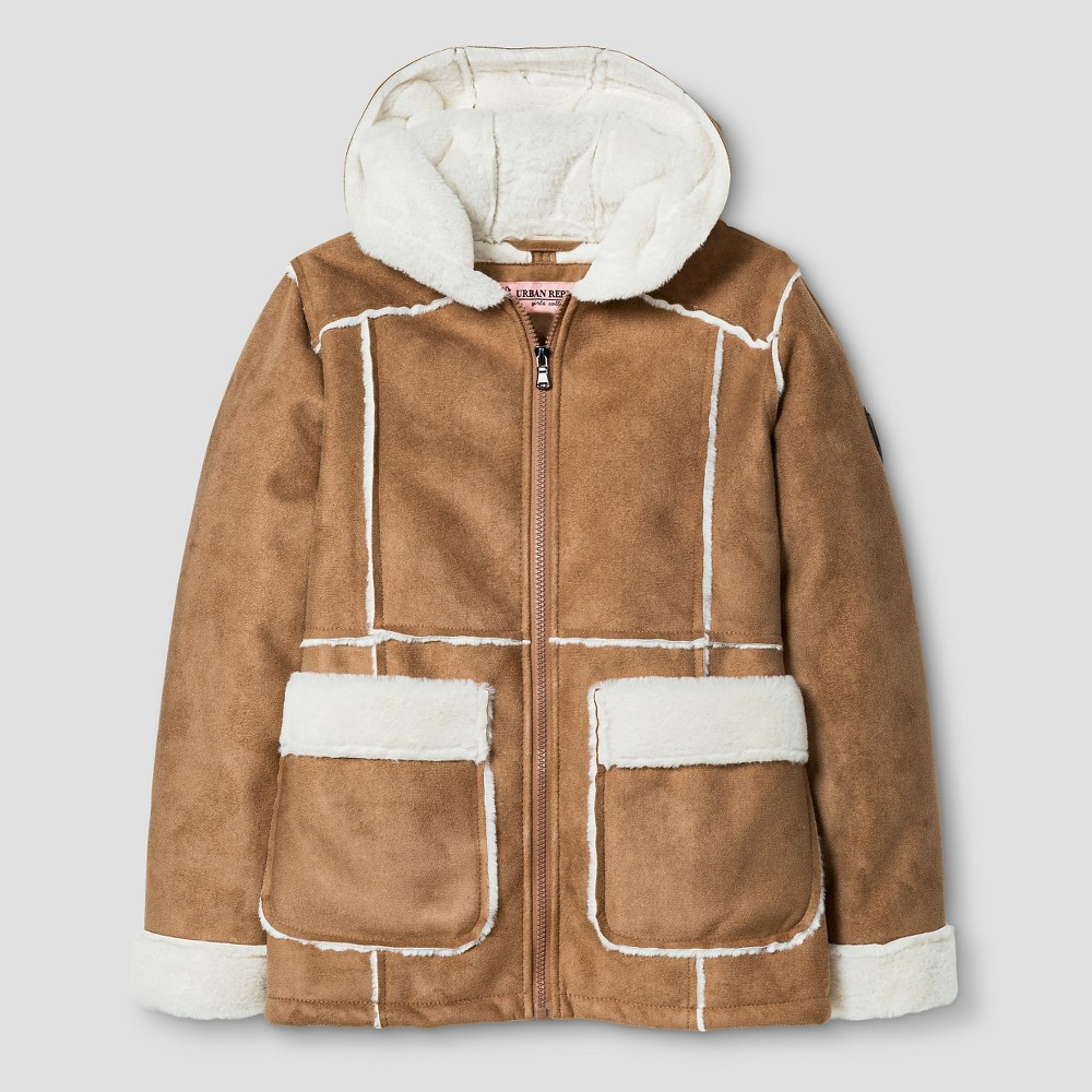 Urban Republic Girls Shearling Jacket with Hood - Caramel Tan 14, Brown