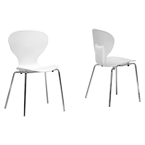 Boujan Plastic Modern Dining Chair - White (Set Of 2) - Baxton Studio - image 1 of 1