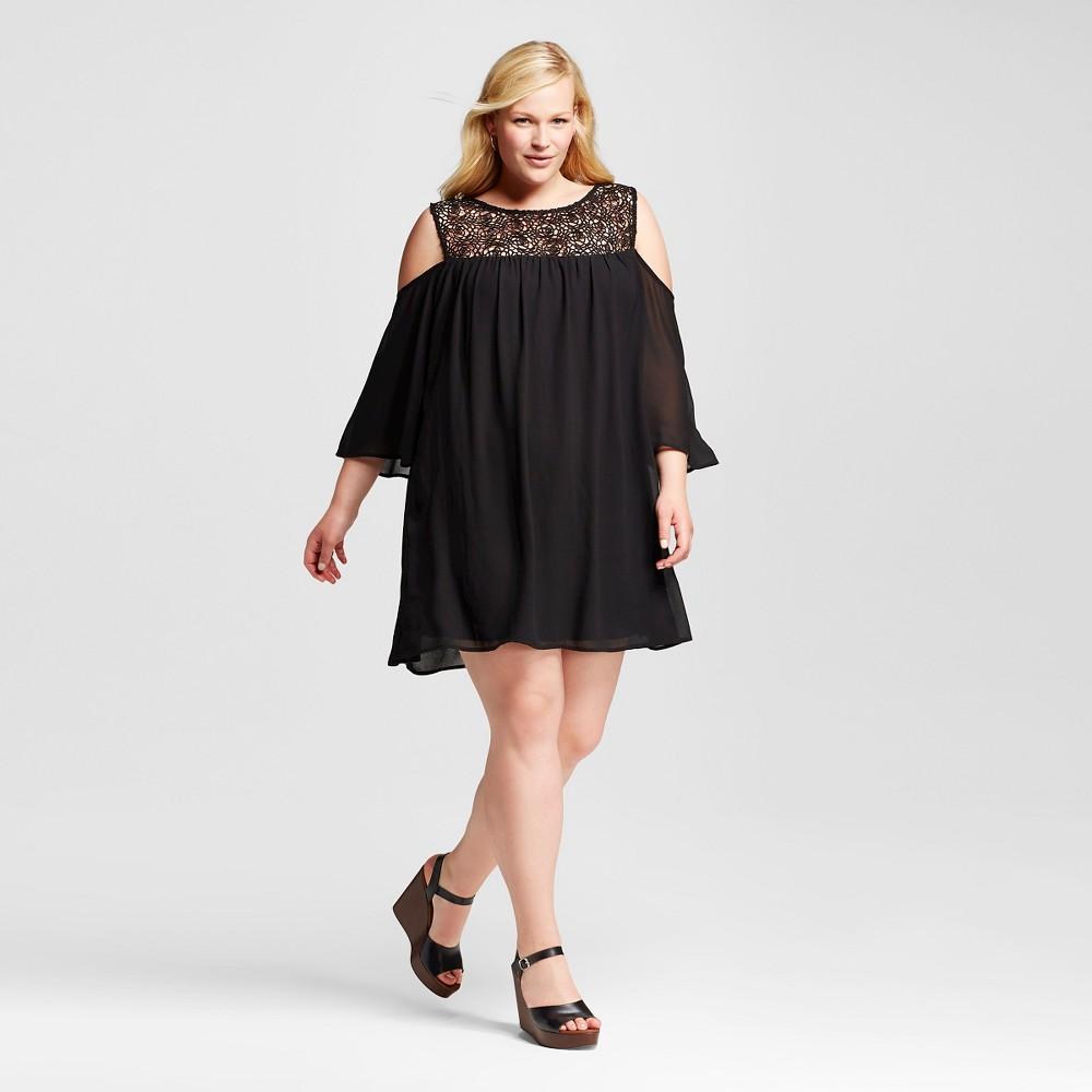 Women's Plus Size Cold Shoulder Lace Trim Shift Dress Black 1X – 3Hearts (Juniors')