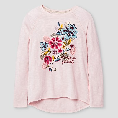 Girls' Long Sleeve Graphic Tee Pink XL - Xhilaration, Girl's