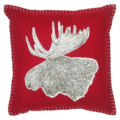 Moose Throw Pillow with Red Stitching - Threshold™