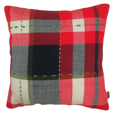 Red Plaid Throw Pillow with Stitching - Threshold™