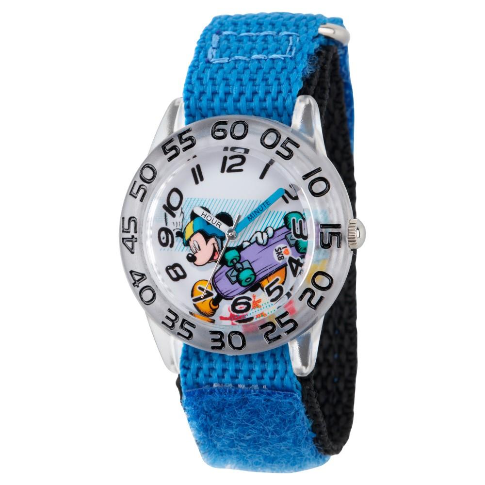 Boys' Disney Mickey Mouse Clear Plastic Time Teacher Watch - Blue