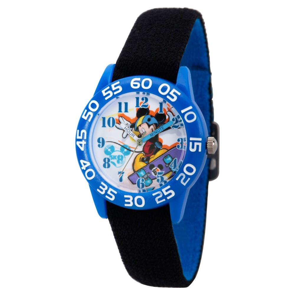 Boys Disney Mickey Mouse Blue Plastic Time Teacher Watch - Black