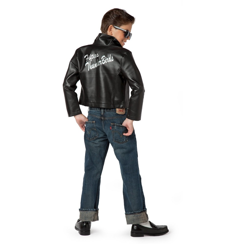 Fifties Thunderbird Jacket Kids' Costume Black - S(4-6), Boy's