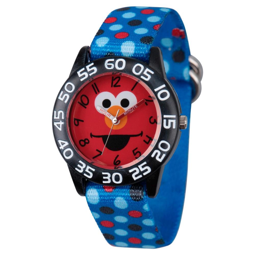 Boys' Sesame Street Black Plastic Time Teacher Watch - Blue