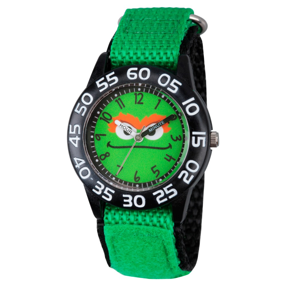 Boys' Sesame Street Black Plastic Time Teacher Watch - Green