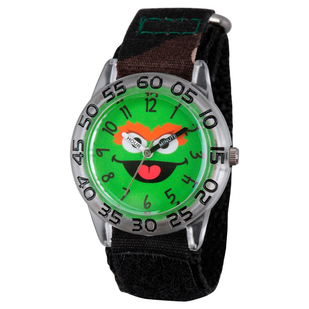 Boys' Sesame Street Clear Plastic Time Teacher Watch - Camo, Multi-Colored