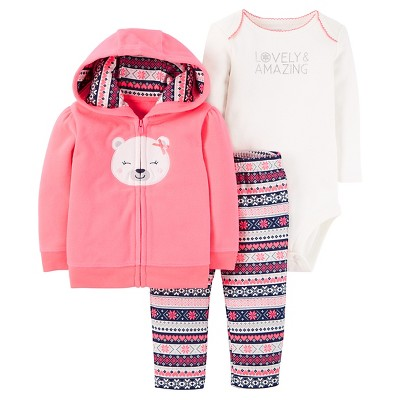Just One You™ Made by Carter's® Baby Girls' 3pc Fleece Cardigan Set - Pink Hooded Bear NB