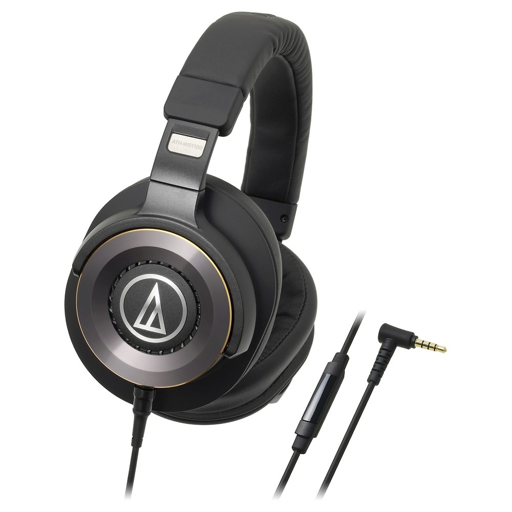 Audio-Technica Solid Bass Wired Over-Ear Headphones with In-line Mic & Control - Black