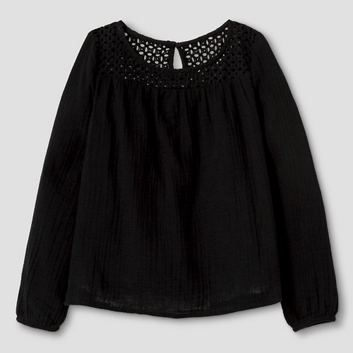 Girls' Long Sleeve Woven Top Cat & Jack - Black XL, Girl's