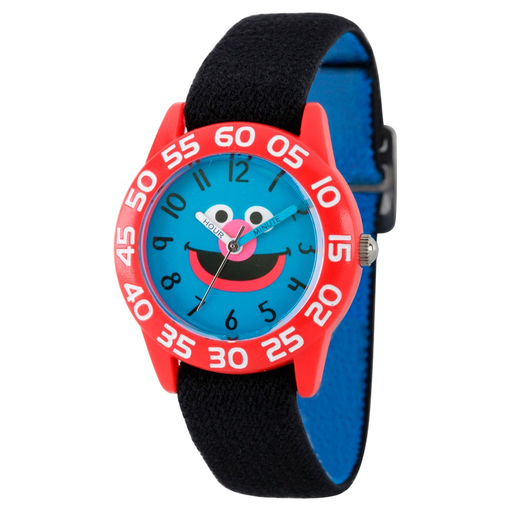 Boys' Sesame Street Red Plastic Time Teacher Watch - Black