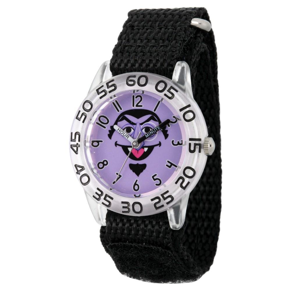 Boys Sesame Street Clear Plastic Time Teacher Watch - Black