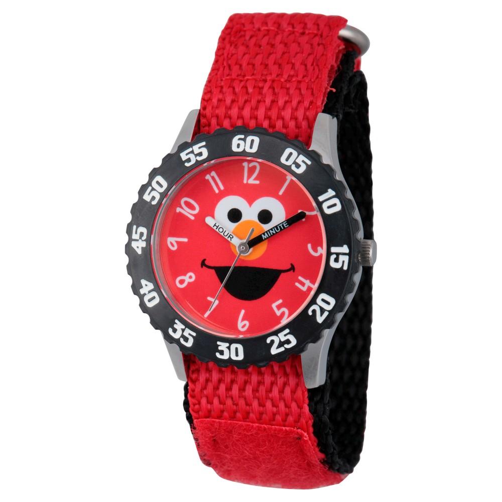 Sesame Street Stainless Steel Time Teacher Watch - Red, Kids Unisex