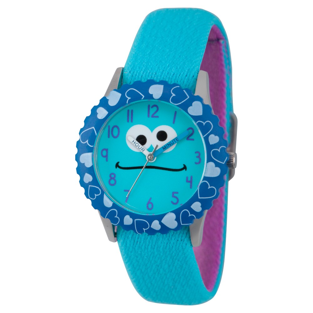 Sesame Street Stainless Steel Time Teacher Watch - Blue, Kids Unisex